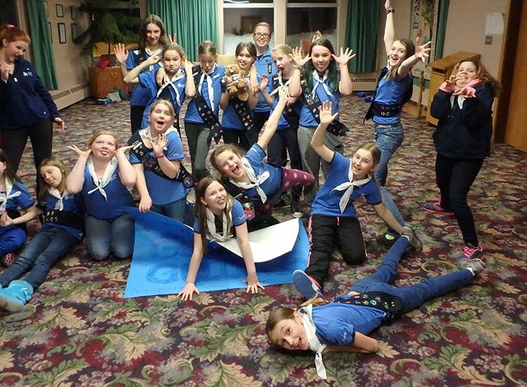 Girl Guides Being Silly in the Friendship Room at Harcourt